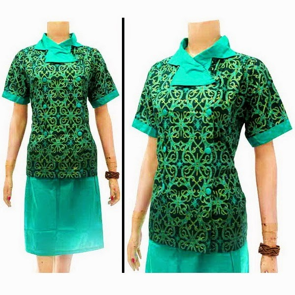 DB3724 Model Baju Dress Batik Modern Terbaru 2014