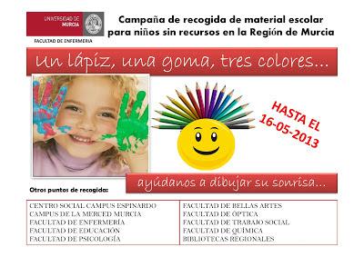 Campaña de recogida de material escolar para niños sin recursos en la Región de Murcia.