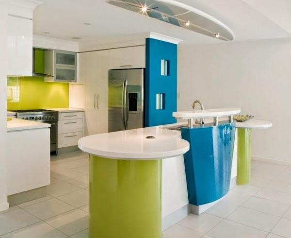 Coloured Kitchen Combination : white kitchen design turquoise green color combinations bright kitchen ...