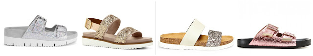 One of these pairs of glitter sandals is from Givenchy for $1,050 and the other three are all under $150. Can you guess the designer pair? Click the links below to see if you are correct!