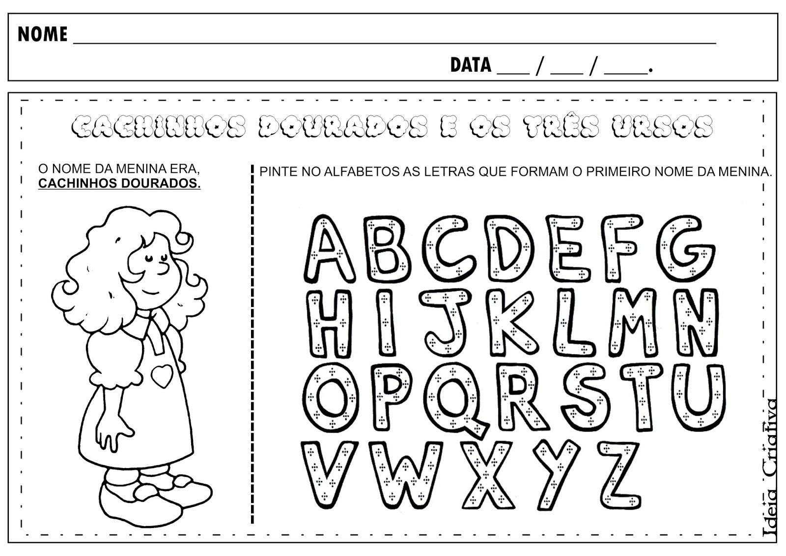 Muitas vezes Atividade Cachinhos Dourados Letras do Alfabeto | Ideia Criativa  DJ06