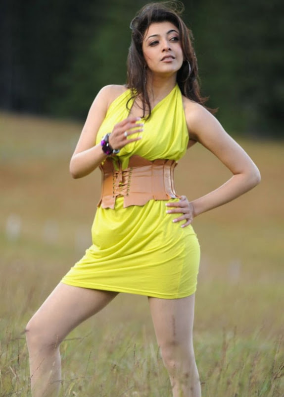 Spicy Kajal Agarwal In Hot Mood Yellow Dress Latest Stills Photos wallpapers