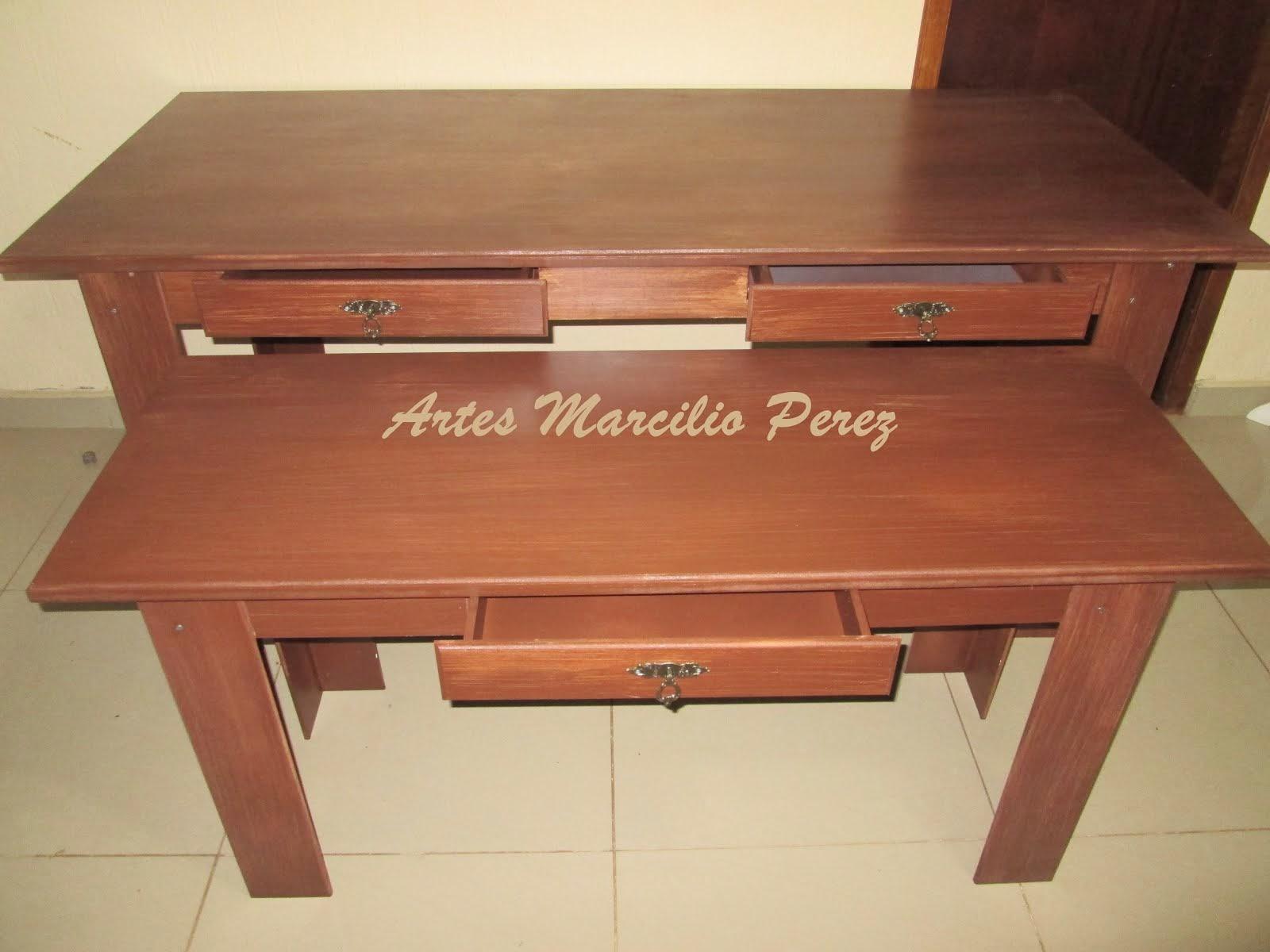 Conjunto de mesas rusticas com gavetas R$ 920,00 medidas  1.80x80x80A e 1.40x50x65A