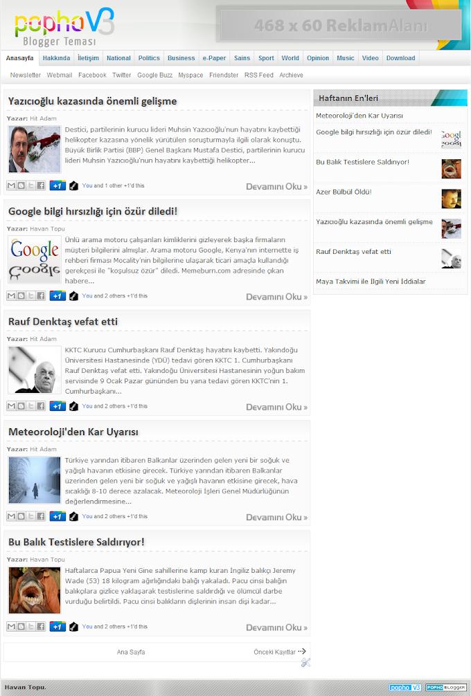 Popho v3 Blogger Teması