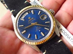 TITONI COSMO KING 14k SUNBURST BLUE DIAL - 25 JEWELS ROTOMATIC
