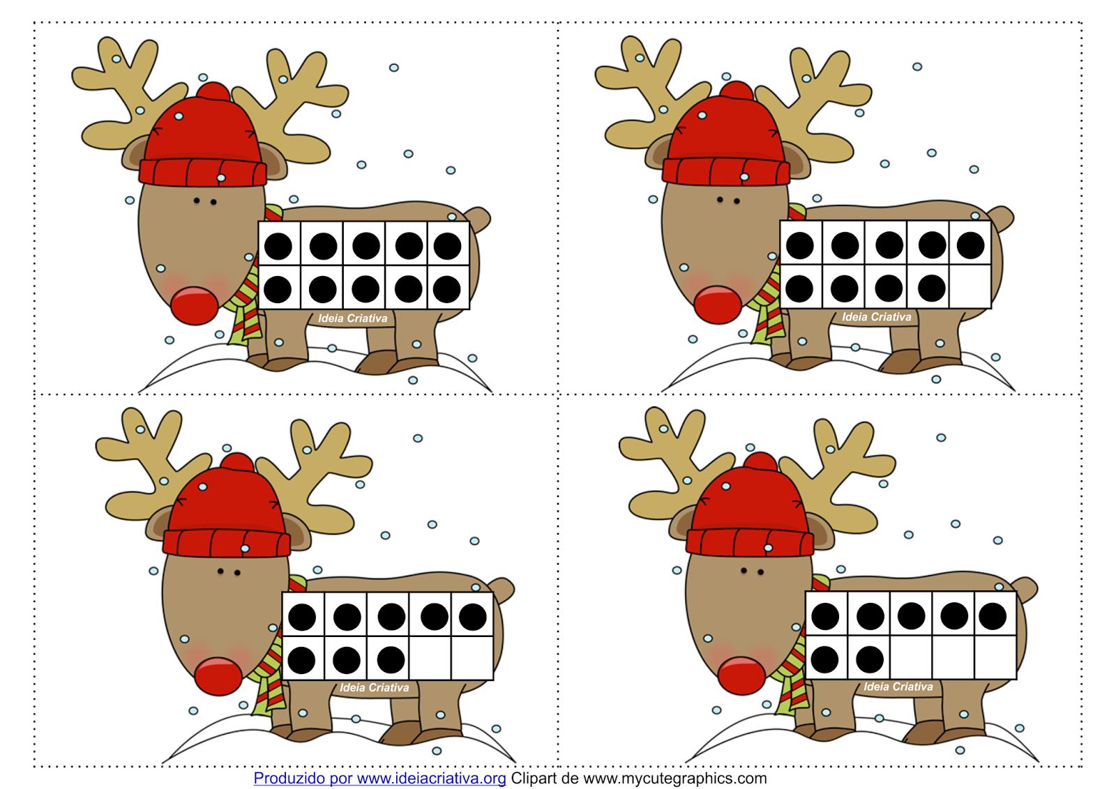 Cartões Natalinos Quadro de Dez Reninha Cute