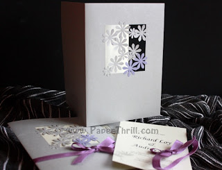 Lavender daisy lace wedding cards