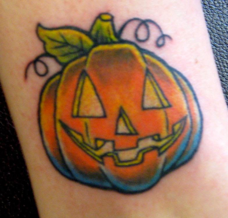 Valkyrie tattoo shop pumpkin tattoos for Tattoos of pumpkins
