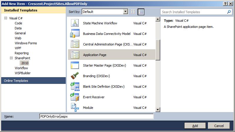 sharepoint event receiver custom error page
