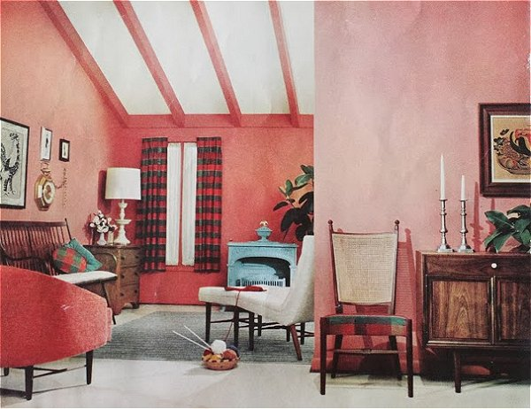 i love the chairs and even the pink walls somehow i like bubble gum and painfully neon hot pinks manly pinks that hurt your eyes - 1959 Home Design