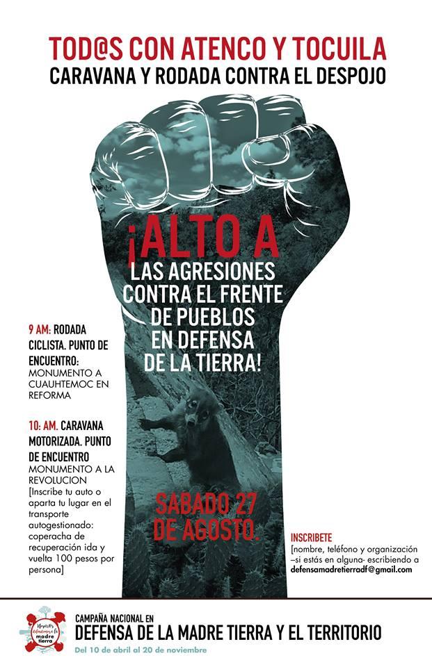 Caravana y Rodada en apoyo a Atenco y Tocuila
