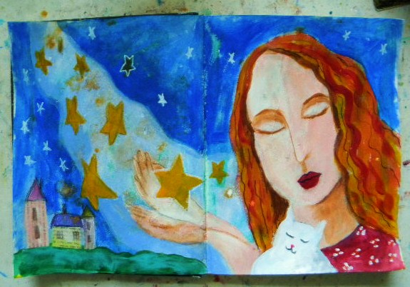 Free Star Angel mixed media how-to