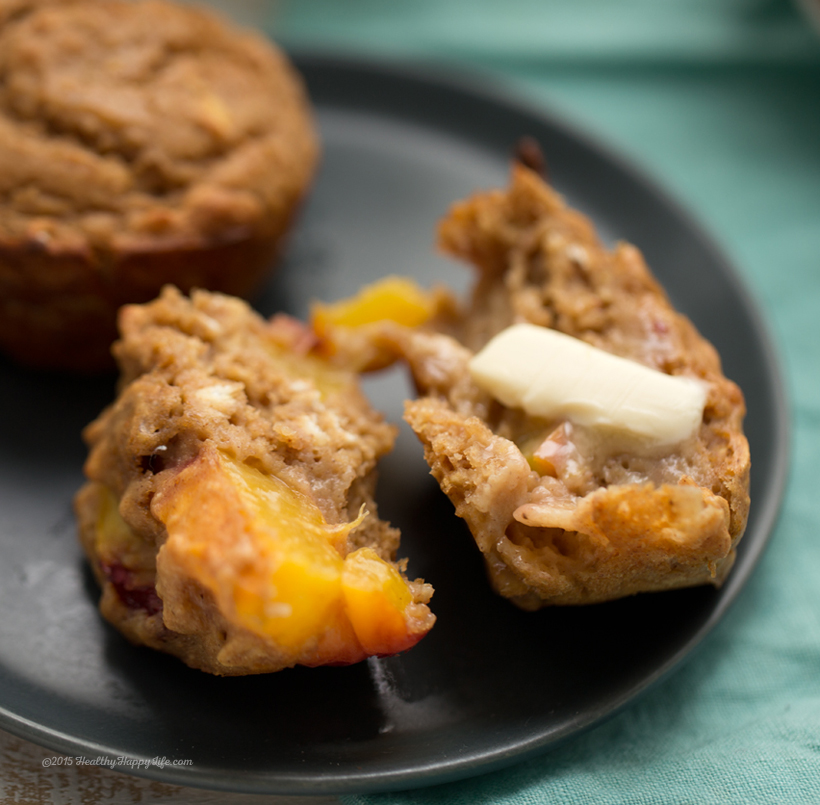 Ginger-Peach Oat Muffins