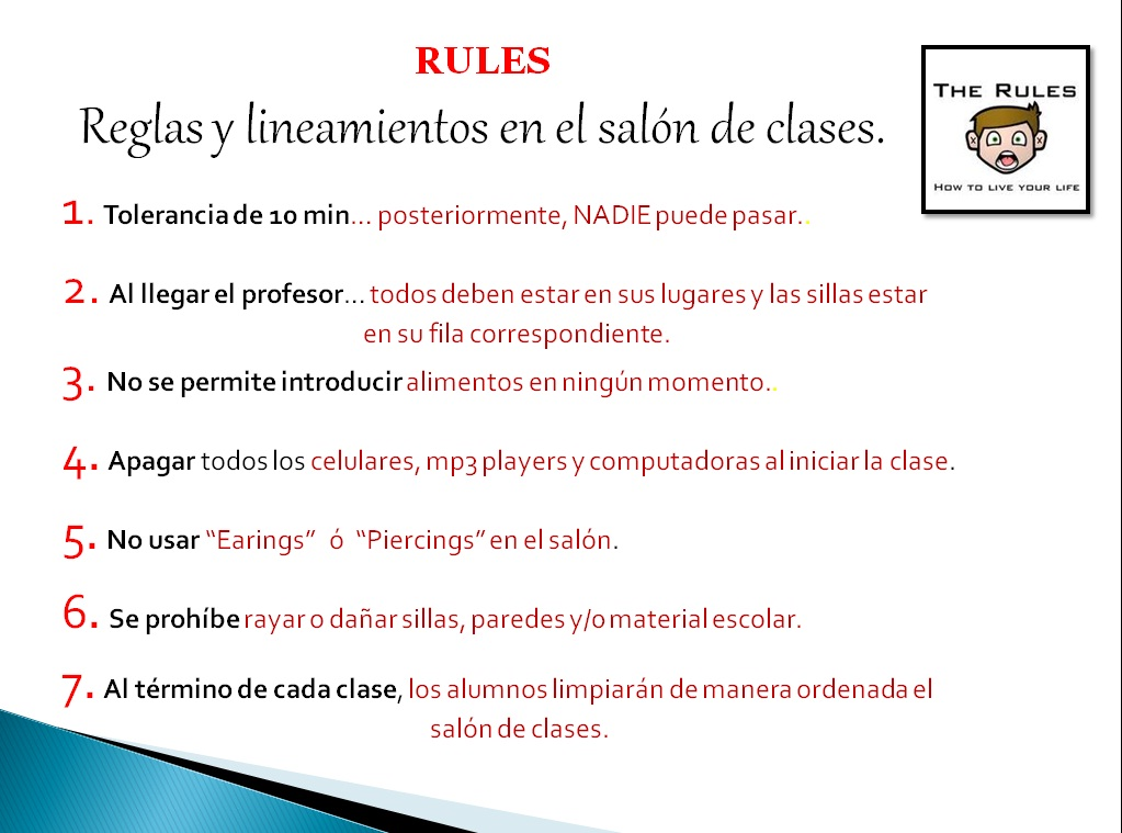 English class 1st semester cbtis reglamento dentro for 5 reglas del salon de clases