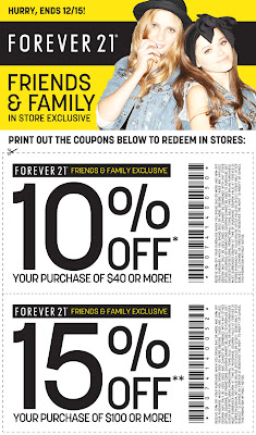 photograph relating to Forever 21 Printable Coupons titled For good 21: Conserve 10-15% Off Close friends and Household Sale (Till
