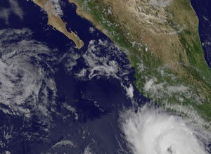 Hurrikan DORA jetzt Kategorie 2 - erstes Satelliten-Echtfoto in Farbe, 2011, aktuell, Dora, Hurrikan Satellitenbilder, Hurrikanfotos, Hurrikansaison 2011, Mexiko,