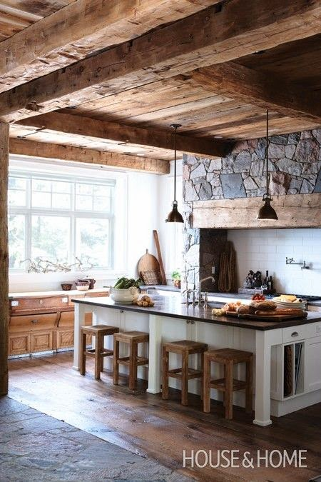 Rustic kitchen with unpainted wood ceiling