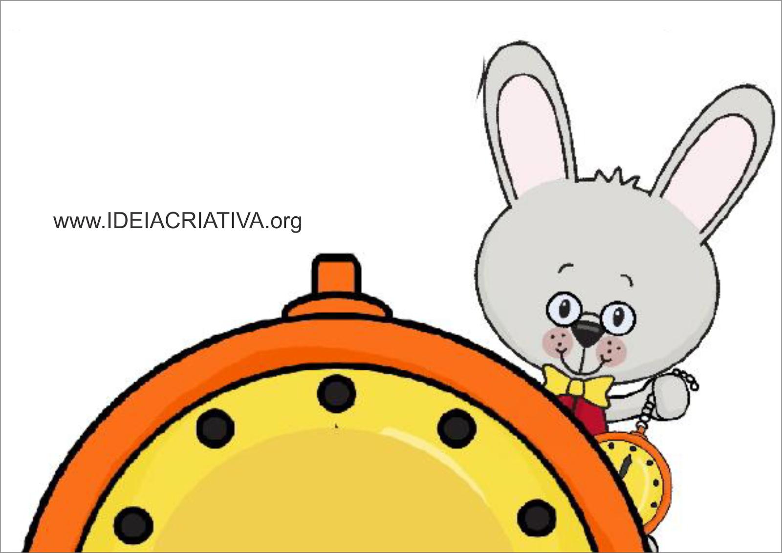 Coelho e Relógio Alice no País das Maravilhas para imprimir
