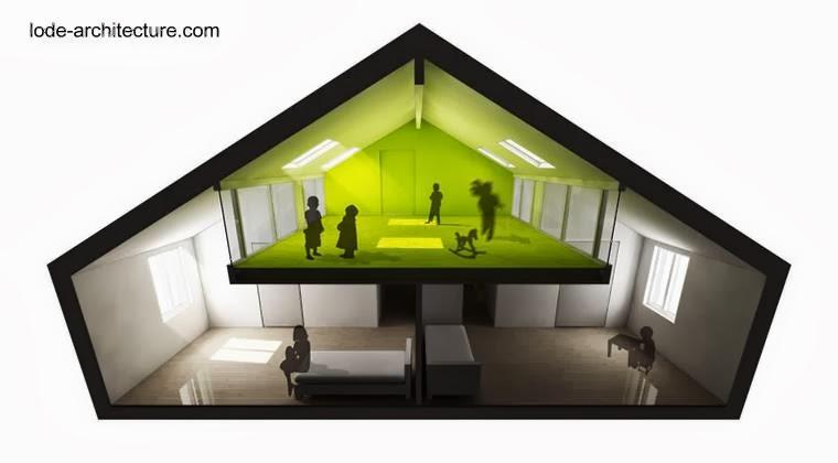 Renderizado de proyecto de ático en una casa residencial