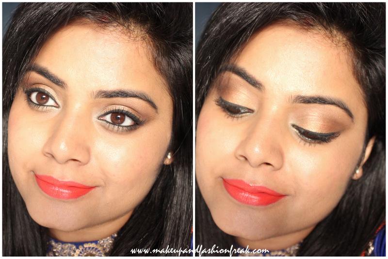 Easy Gold Festive Eye Makeup With Orange Lips