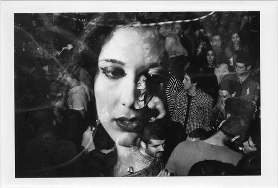 dirty photos - upon - flash street photo of double exposure of girl and people in nightclub in rethymnon
