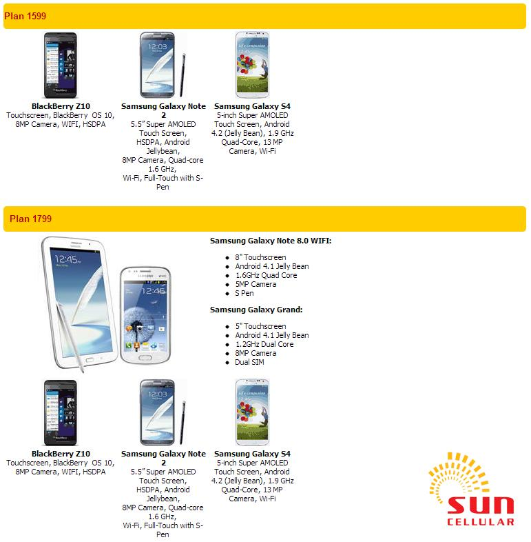 Android mobile phones sun postpaid plan 1599 1799 get a for Sun mobile plan