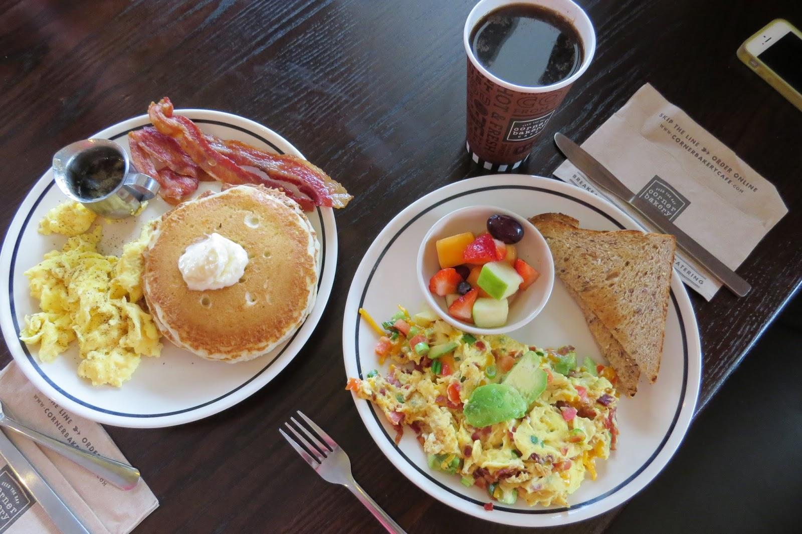 Corner Bakery Cafe Pancakes and Anaheim Scrambler