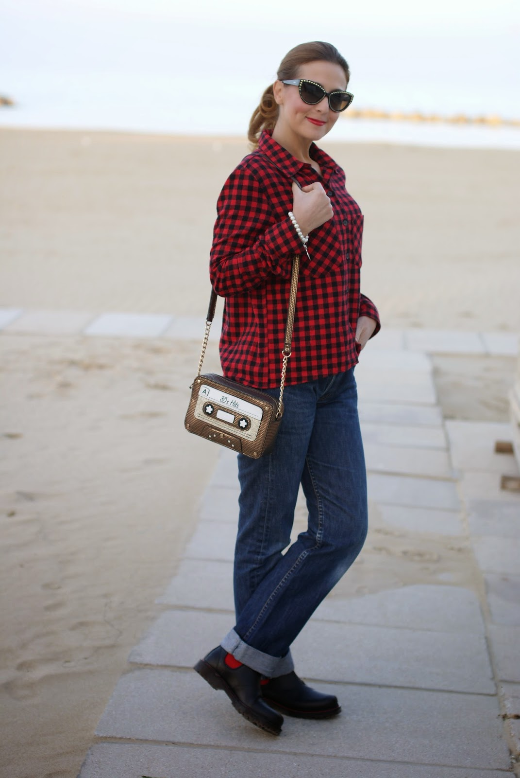 Buffalo plaid shirt, Moschino 30 year anniversary sunglasses, Levi's 501 jeans, Fashion and Cookies, fashion blogger, chelsea boots