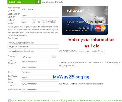 Payoneer Cardholder details