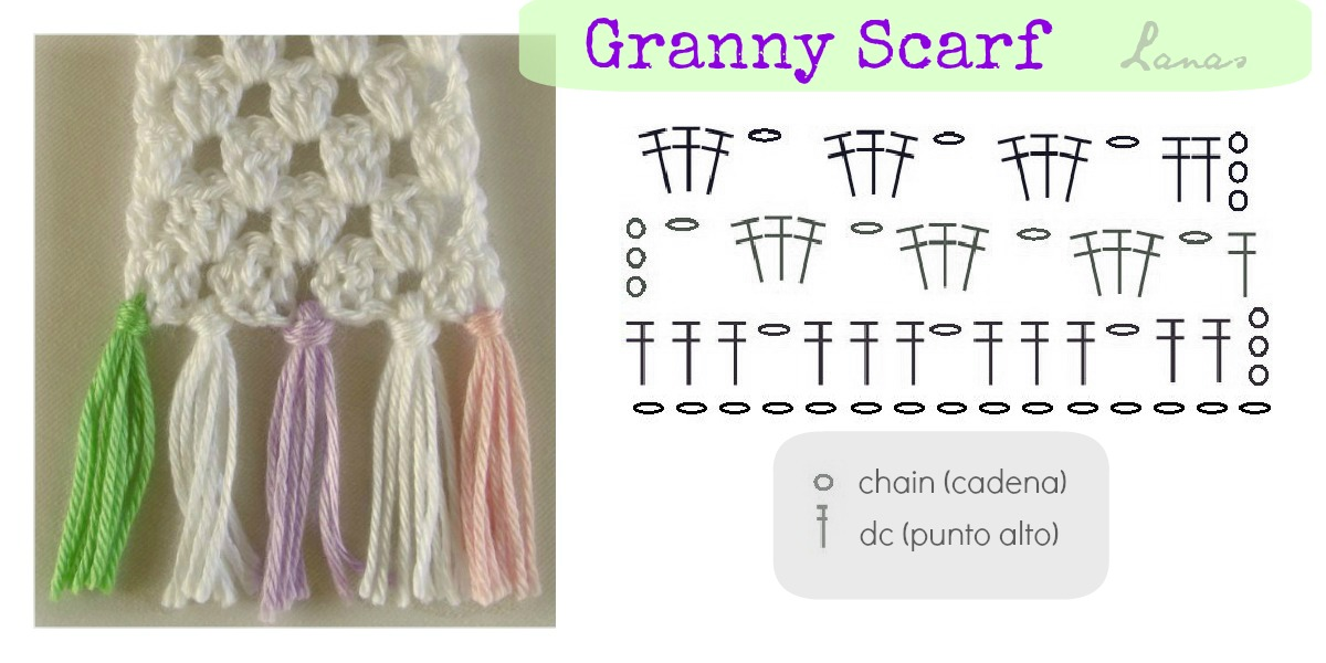Lanas de Ana: Granny Stripes Scarf (Graphic Pattern)