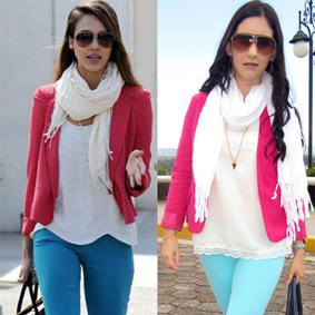 Jessica Alba pink blazer
