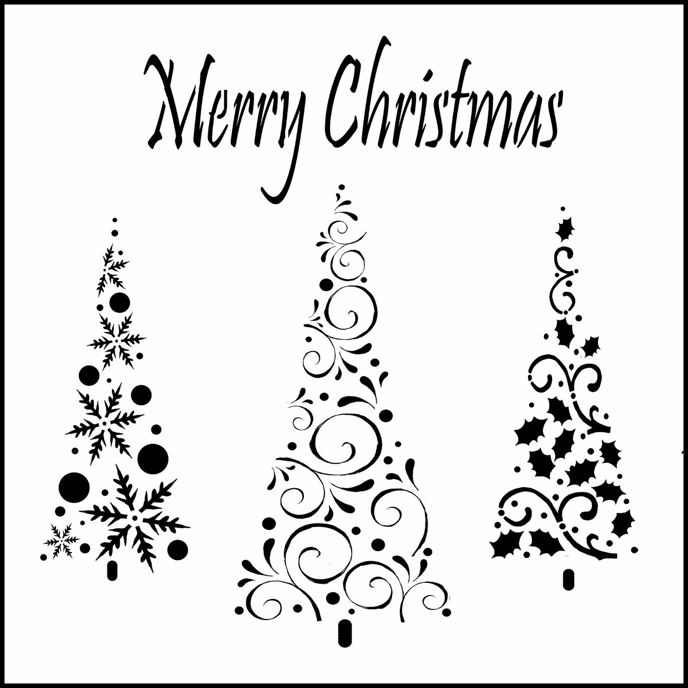 Pine Tree Stencil Merry christmas trio stencil