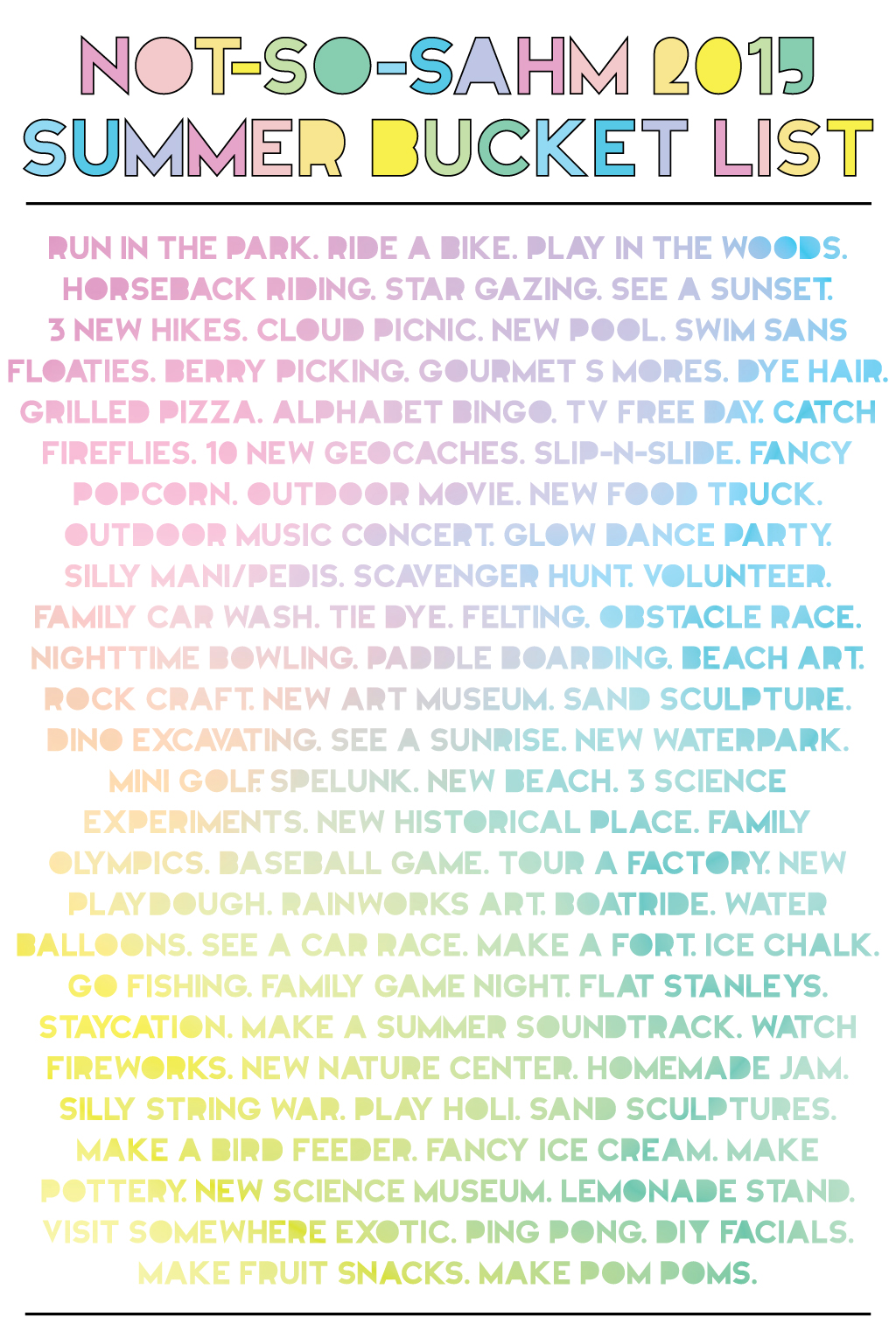 2015 Summer Bucket List!!