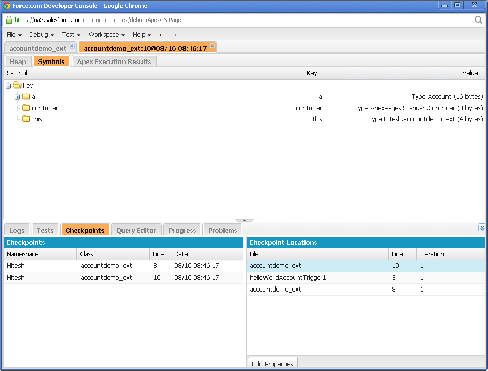 each execution of class trigger generates checkpoint data in checkpoints sub tab double click on the individual checkpoint log to view corresponding