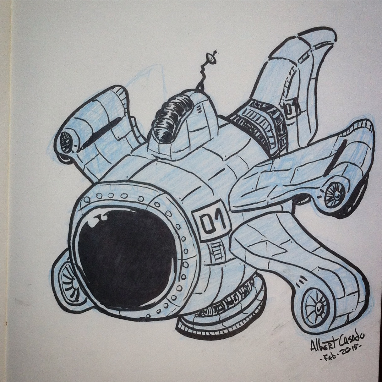 Spaceship - (#100mechDrawings) - Albert Casado