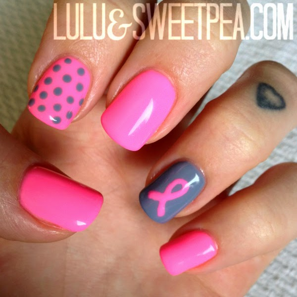 Funky Breast Cancer Gel Nails Elaboration - Nail Art Design Ideas ...