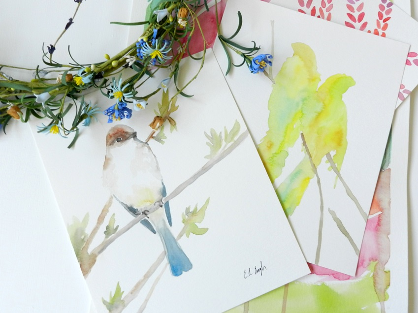 Original Watercolor Bird Paintings: Elise Engh @Grow Creative