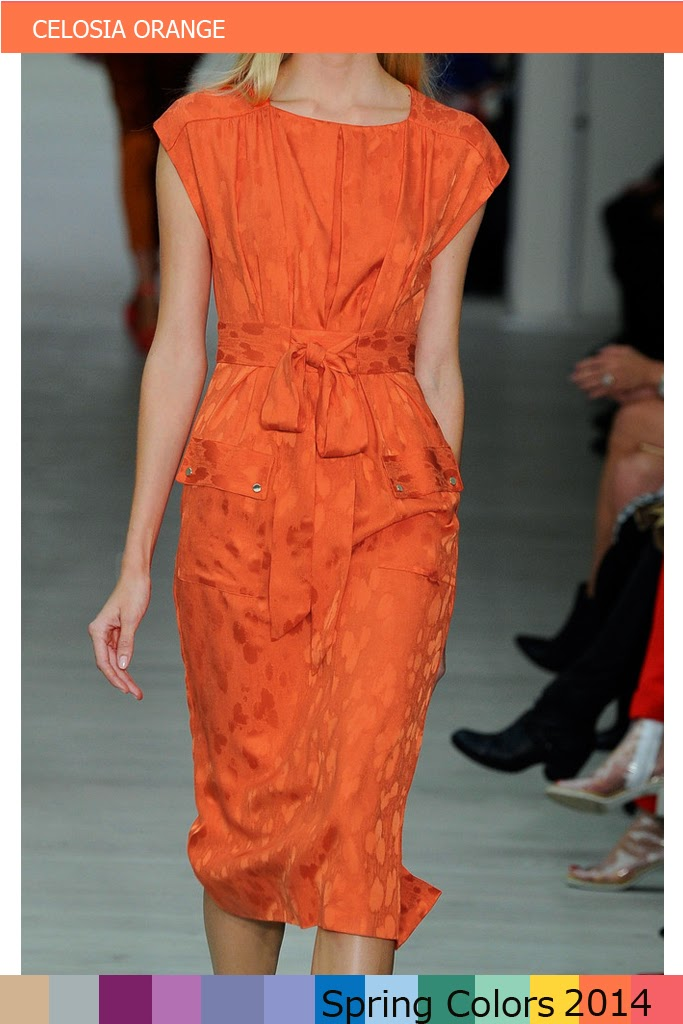 PANTONE Spring Color 2014 - Celosia orange - MATTHEW WILLIAMSON Orange Satinjacquard Dress
