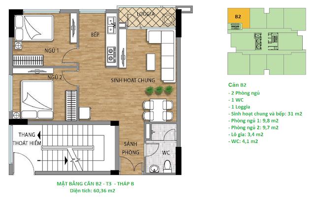 Căn hộ B2 diện tích 60,36 m2 tầng 3 Valencia Garden
