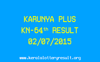 Karunya Plus KN 64 Lottery Result 2-7-2015