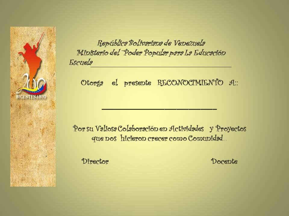 Asunción: Diplomas de ReconocimientoPara los Representantes