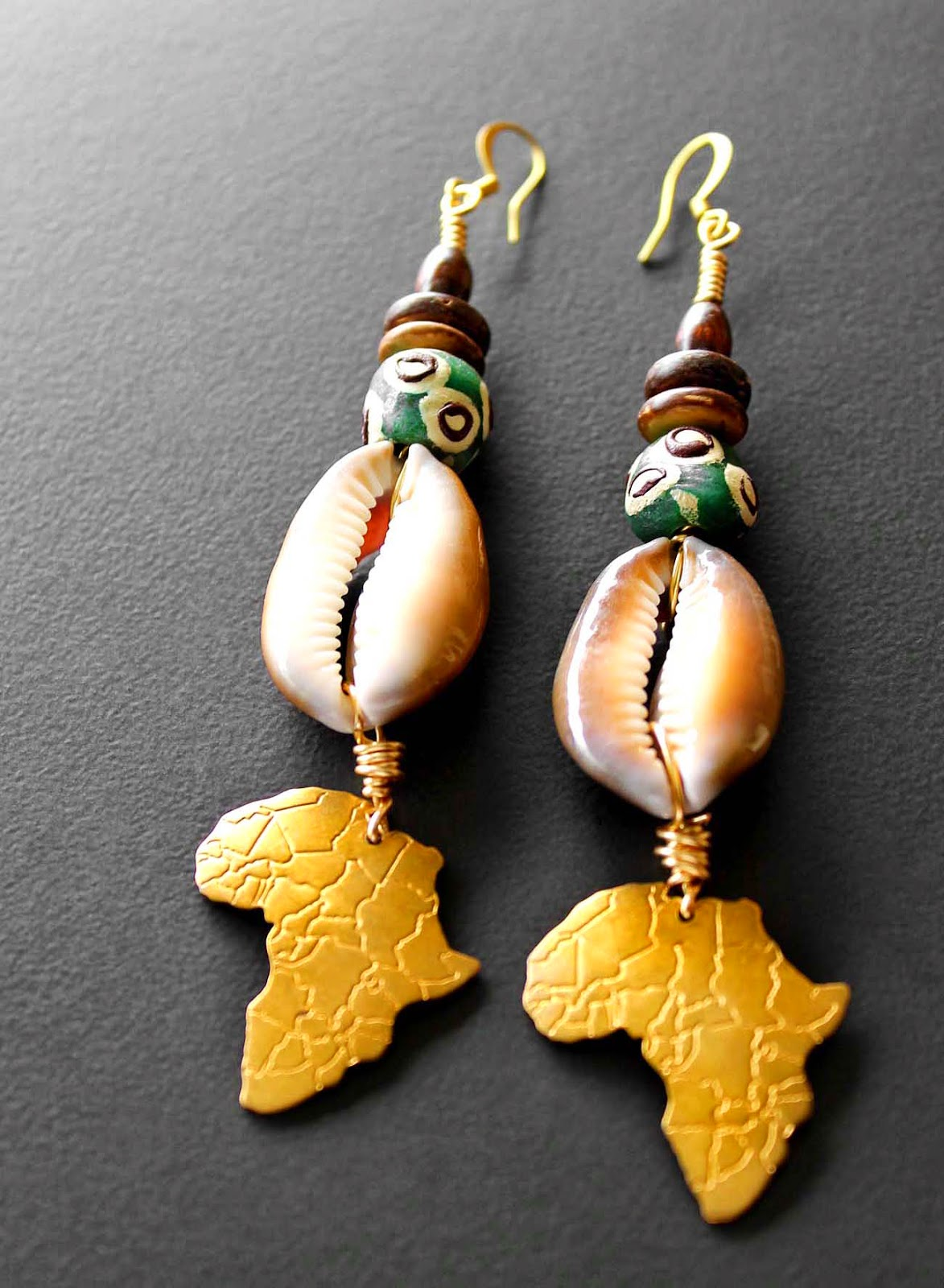 brass africa earrings