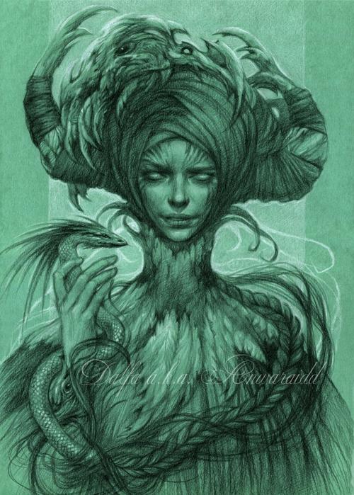 04-Horned-Mistress-Olga-Anwaraidd-Drawings-Fantasy-Portraits-Imaginary-Characters-www-designstack-co