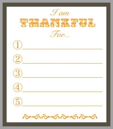 Printable Thankful Game
