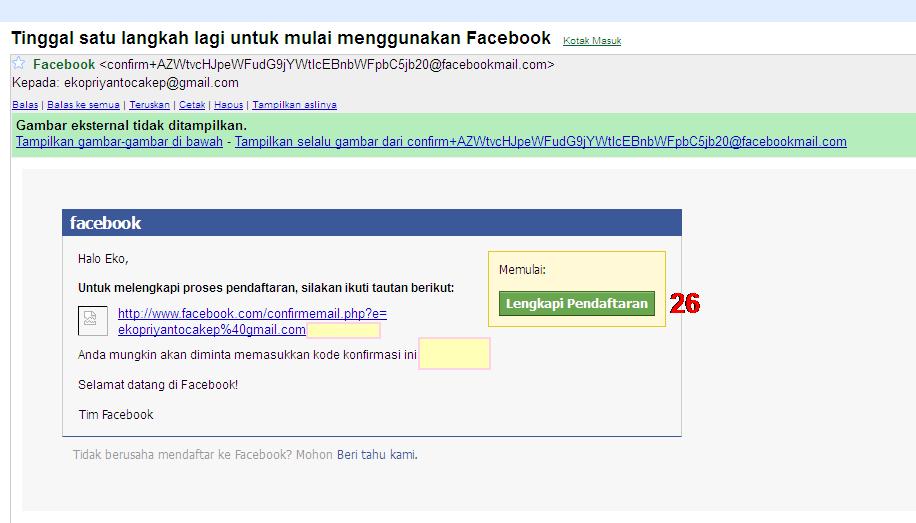 Facebook secara otomatis yang menandakan akun email anda sudah di