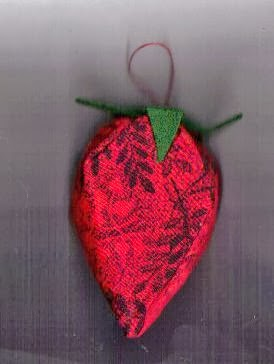 red fabric christmas ornament shaped like strawberry - Christmas Decorations To Make With Sewing Machine