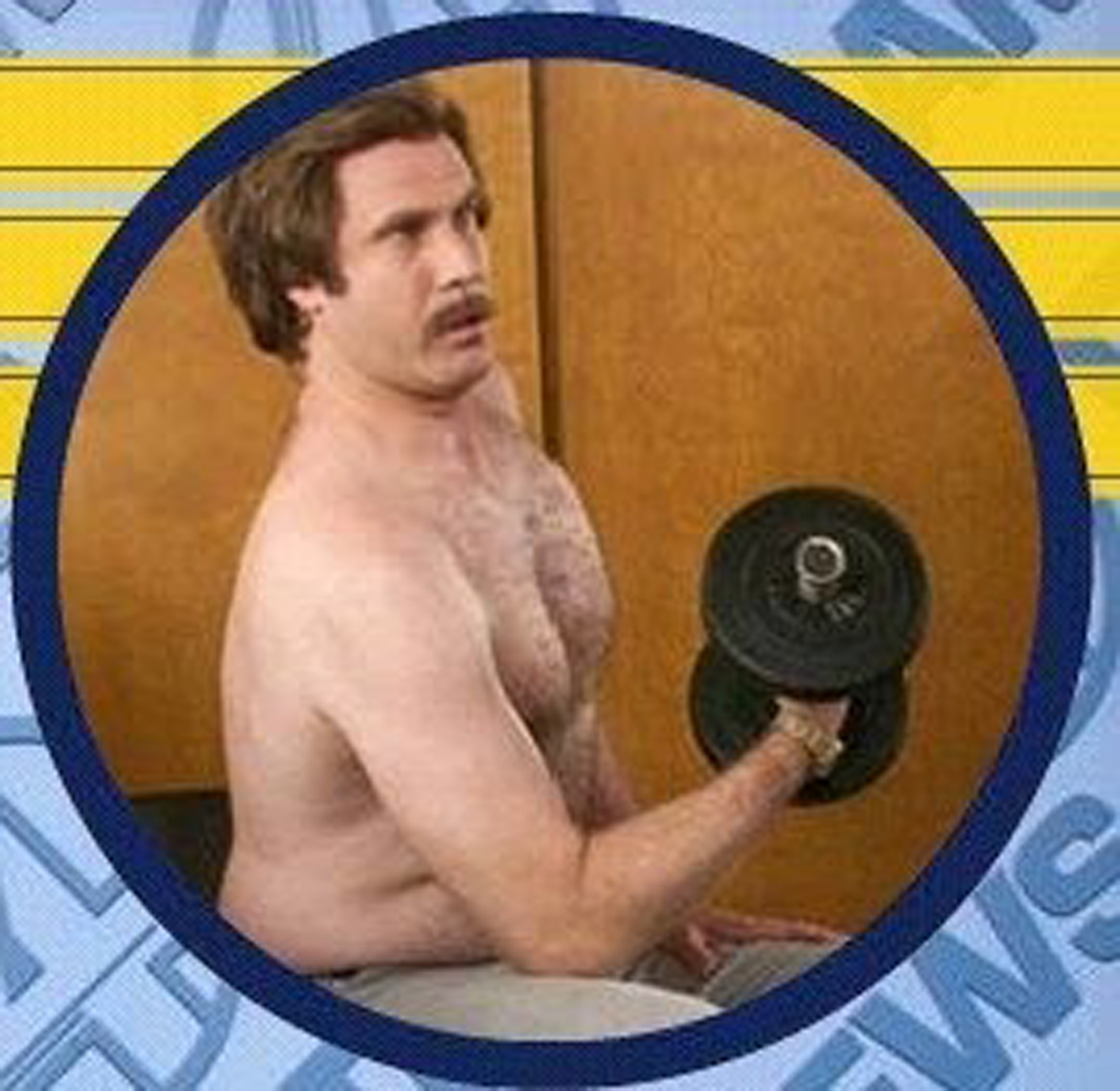 Ron Burgundy, shirtless and lifting weights
