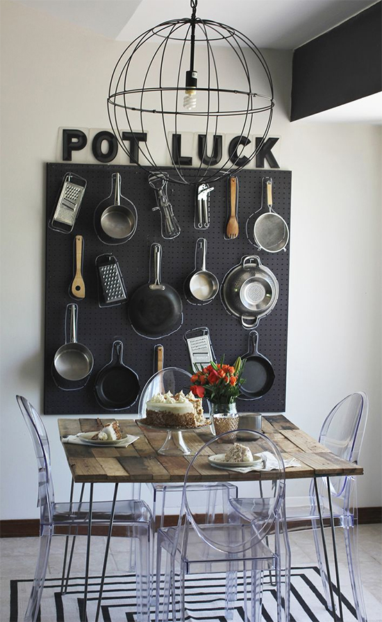 painel organizador na cozinha, panelas penduradas, hold pan, organizar panelas, cozinha, kitchen