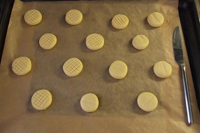Melting moments shortbread on baking tray