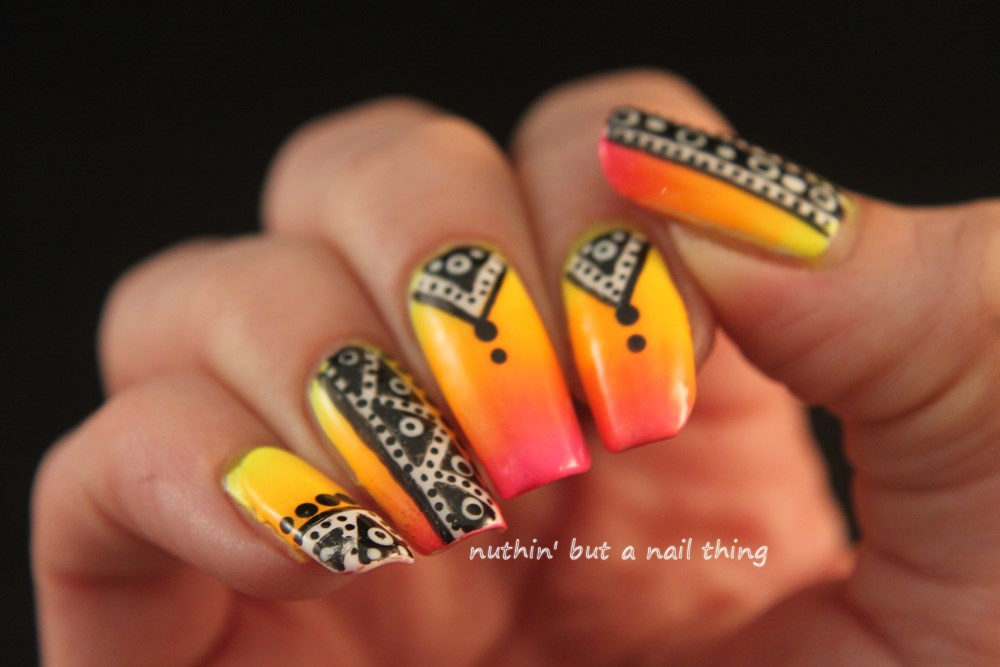 nuthin\' but a nail thing: Bright tribal nail art